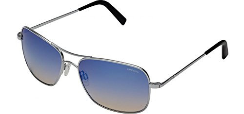 Randolph  Men's Archer 59mm Matte Chrome/Oasis Metallic Nylon Anti-Reflective One - Crown With Sunglasses Logo
