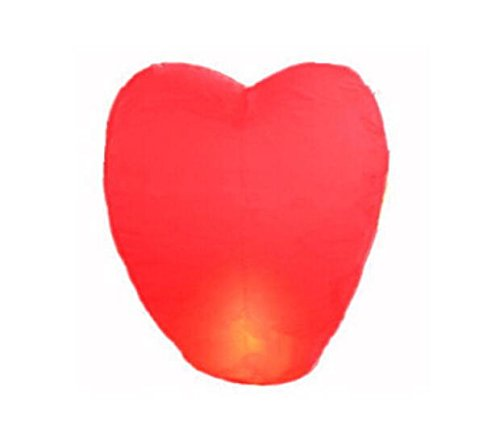 Domire 10 Pcs Red Heart Shape Flying Sky Lanterns, Traditional Chinese Flying Glowing Lanterns ()