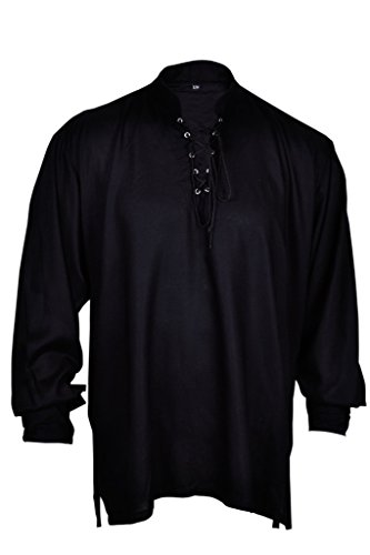 [BARES Casual Summer Renaissance Pirate Shirt Medieval Men Costume Black Color Small Size] (Medieval Man Costume)