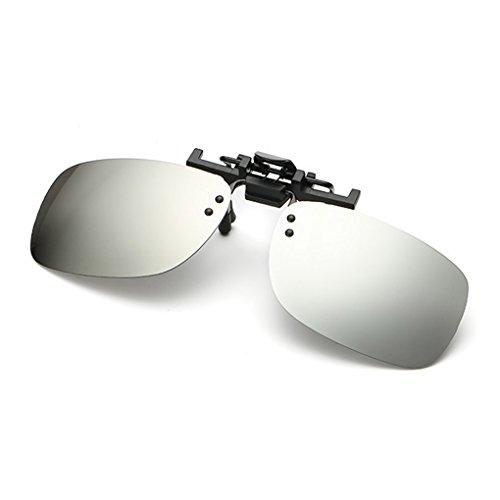 Clip de Hombre Jasper del tirón gafas clip del QHGstore sol Unisex manera plateado metal On El cuadrado la Polarizado de BYw1F