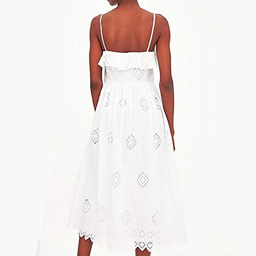 Tirantes Delgado M Vestido Alta Mujer Noche con White Vaina Cintura TTSKIRT Midi zw6qCE
