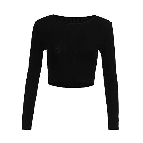 ZEFOTIM Fashion Women Long Sleeve O-Neck Tight Elastic T-Shirt Blouses Crop Tops (US-10/CN-L,Black)
