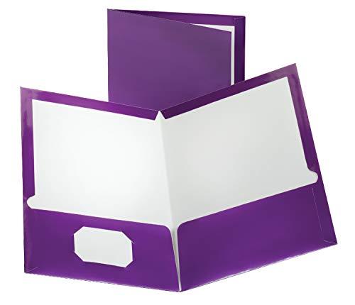Metallic Pocket - Oxford Metallic Two-Pocket Folders, Purple, Letter Size, 25 per box (5049526)