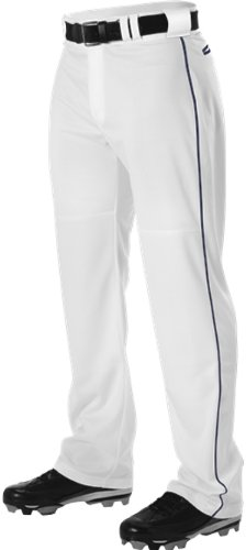 Alleson Adult Pro Warp-Knit Baseball Pants - Full Relaxed Fit With Piping - White/Navy - Medium (Warp Adult Knit Polyester)