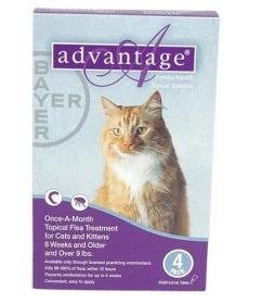 Bayer ADVANTAGE4-PURPLE Advantage 4 Pack Cat 9 Lbs. and Up – Purple, My Pet Supplies