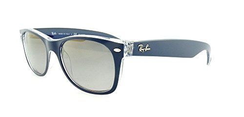 Ray-Ban New Wayfarer Sunglasses RB2132 6053M3-52 - Top Blue On Trasparent Frame Gradient Grey