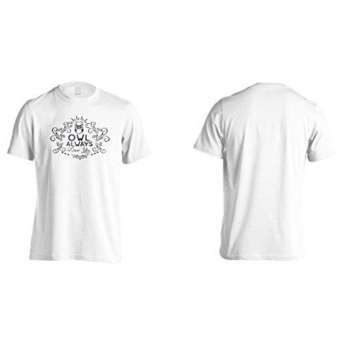 Eule Liebt Dich Immer Schwarz Herren T-Shirt n630m