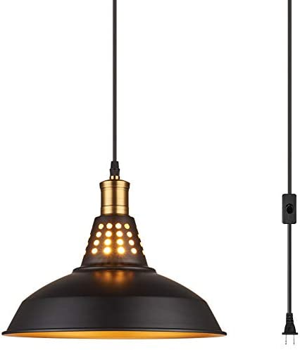 Amabao Lighting, Black Finish Metal Industrial Plug in Ceiling Pendant Light with On Off Switch, Bulb Not Included 1-Pack