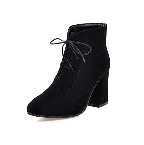 Allhqfashion Para Mujer Con Punta Cerrada De Tacones Altos Esmerilado Low-top Solid Botas Negro