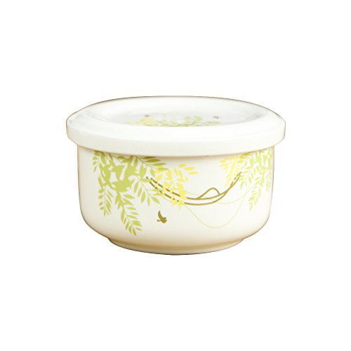 WAIT FLY Elegant Tree Shaped Ceramic Bowl with Lid Household Lunch Boxes Rice/ Soup/ Salad/ Bouillon/ Dessert Bowl for Steaming (Tree Shaped Bowls)