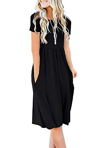 DB MOON Womens Summer Casual Empire Waist Dresses with Pockets (Black,2XL)