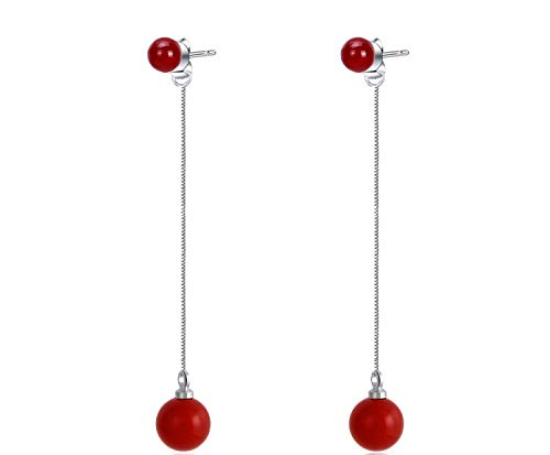 uPrimor 2-in-1 Platinum Plated Red Agate Studs Drop Earrings