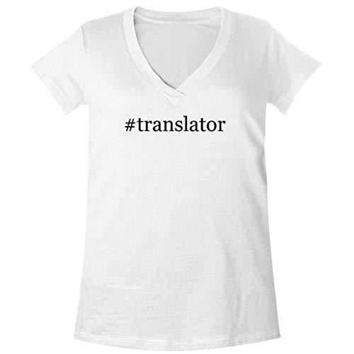 The Town Butler #Translator - A Soft & Comfortable Women's V-Neck T-Shirt, White, Medium