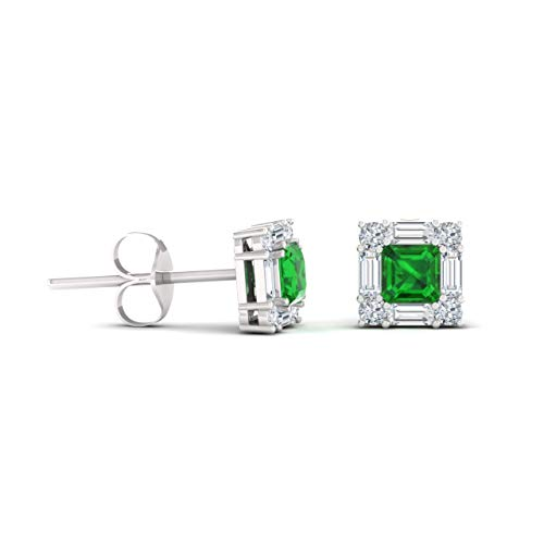 (Diamondere Natural and Certified Princess Cut Emerald and Diamond Halo Petite Earrings in 14K White Gold   0.92 Carat Stud Earrings for Women)