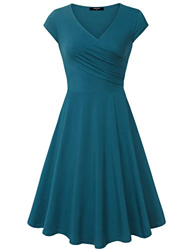 Cyan Sleeve Dress Dark A Casual Cap Neck Dress Elegant Womens Line Lotusmile V cTxqwF8755