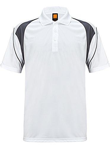 ZITY Moisture Wicking T-Shirt,Men's Polo Cool Quick-Dry Shirt,White+grey,US (3 Button Golf Shirt)