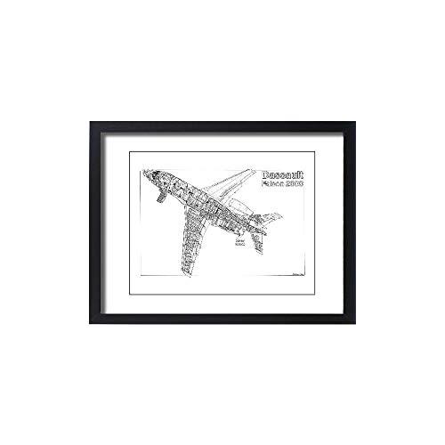 Media Storehouse Framed 24x18 Print of Dassault Falcon 2000 Cutaway Drawing (1569913)