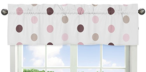 Large Polka Dot Window Valance for Pink and Brown Mod Dots Collection