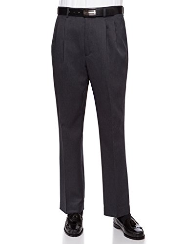 RGM Mens Dress Pants, Formal and Work Slacks For Men – Pleated Front Cuffed Hem Charcoal 30 Short -