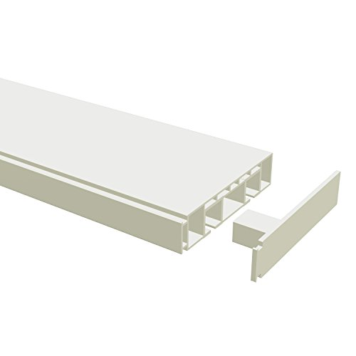 Flairdeco 15021006-3601 Gardinenschiene, Hohlkammer-Vorhangschiene 2-läufig, 360 cm geteilt 2 x 180 cm inklusiv Verbinder, weiß aus kunststoff