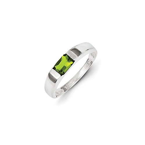 Sterling Silver Lime Green Cubic Zirconia Ring - Size 8