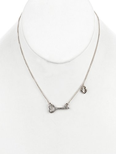 Pave Heart Lock (Parisian Chic Necklace Metal Heart Lock And Key Pave Crystal Stone Link Chain)