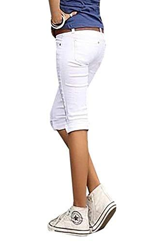 Tasche Skinny Da Donna Pantaloni Jeans Bianca Casual Con Giovane Denim Capri Colori Solidi Slim Fit SqRnFd7Bx