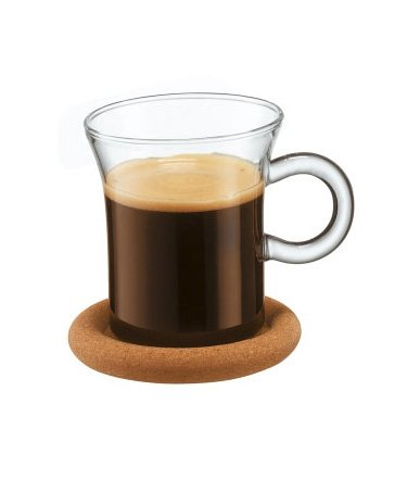 Bodum Shin Bistro Glass Espresso Cup with Handle and Cork Coaster, Set of 2 (Glass Coasters Bodum)