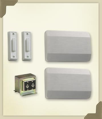 Quorum 102-2-6 5.50'' Single Entry Door Chime Kit with Double Button, White Finish