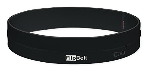 FlipBelt Classic Running Belt Fitness Accessory with Pockets & Internal Key Hook Black Extra ()