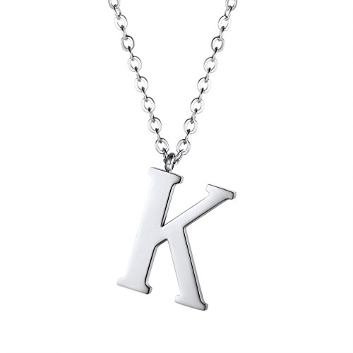 PROSTEEL Stainless Steel Initial Letter K Necklace Alphabet Name Jewelry Groomsman Bridesmaid Gift Men Women Personalized Minimalist Letter Pendant Necklaces