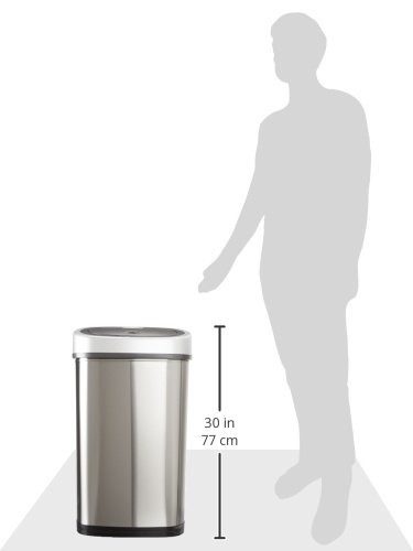 NINESTARS DZT-50-9 The Original Touchless Automatic Motion Sensor Trash Can, 13.2 Gal. / 50 L., Stainless Steel