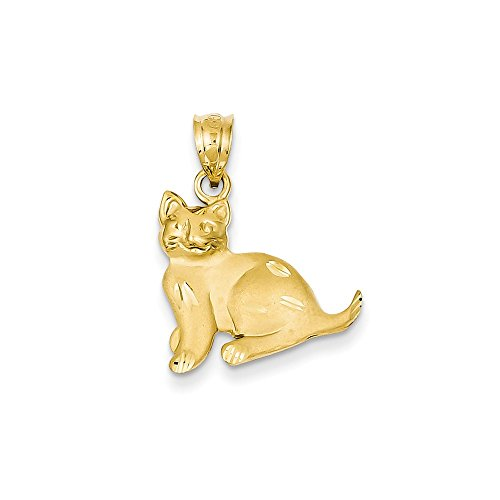 Yellow Gold Cat Charm (14k Gold Cat Charm Pendant (0.87 in x 0.71 in))