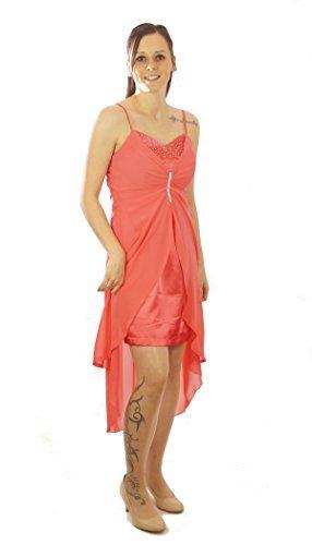 Vokuhila Kleid Partykleid Abend Coktailkleid aus Chiffon mit Strass ...