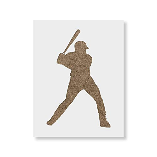 Baseball Player Stencil Template for Walls and Crafts - Reusable Stencils for Painting in Small & Large Sizes