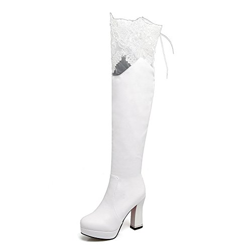 Boots Lace Urethane BalaMasa White Womens Solid Zipper wX6nz0q