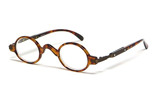 Calabria R314 Unisex Vintage Professor Oval Reading Glasses Incredibly Lightweight and Comfortable in Tortoise +2.50
