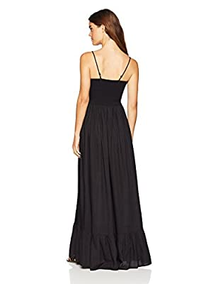 Wild Oasis Beachwear Women's V Neck Spaghetti Strap Cut Out Solid Maxi Dress