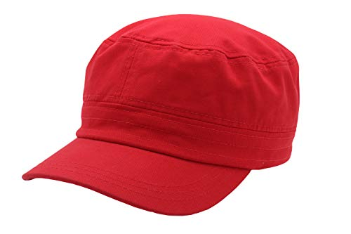 - Quality Merchandise Cadet Army Cap - Military Cotton Hat, RED