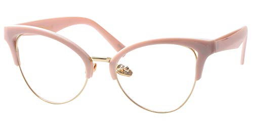 SOOLALA Womens Large Half Frame Cat Eye Reading Glass Unique Eyeglass Frame, Pink, 1.5 (Designer Glasses Frames Uk)
