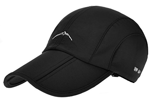 Laquest Sun Hat UV Protect Long Bill Packable Golf Cap Outdoor Water Repellent Finish (Black Finish Bush)