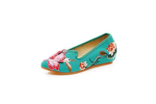 Green Embroidered Women's Wind Flowers Shoes Ballet Ethnic Cloth National Flowers Espadrilles Shoes Shoes Flats Embroidered Lotus wBgBqCxHZ