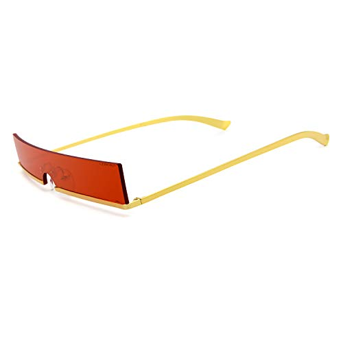 RONSOU New Fashion Trend Rectangular Personality Sunglasses for Men and Women Golden Frame Red ()