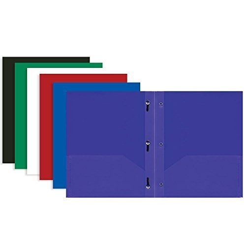 Bazic 2 Pocket Poly Portfolio with Prongs, 11.5 x 9.5 Inches, Assorted Colors, (3 Pack), (3159) (Poly 3 Prong 2 Pocket Folders)