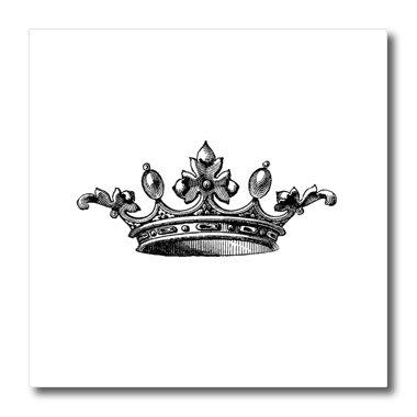 3dRose ht_151405_3 Majestic Crown Black & White Drawing Royal Tiara-Like Crown Vintage Art King Queen Princess Iron on Heat Transfer, 10 by 10