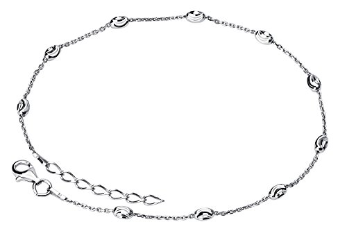 Rolo Ankle Bracelet (925 Sterling Silver Oval Moon-cut Rolo Anklet Bracelet Rhodium Plated Made in Italy, 9