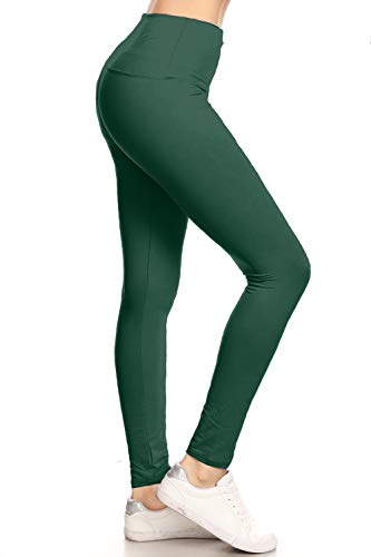 """LY5R128-FORESTGREEN 5"""" Waistband Yoga Solid Leggings, One Size"""