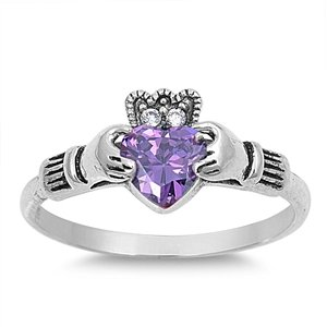 10MM Sterling Silver Purple Simulated Amethyst HEART Crystal Royal Celtic Hands & Claddagh Crown Wedding Ring SIZE 4-12 (Celtic Ring Amethyst Claddagh Heart)