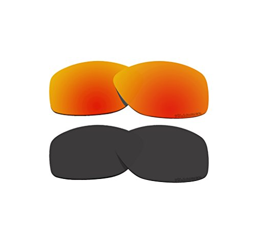 2 Pairs BVANQ Polarized Lenses Replacement Red & Black for Oakley Cohort OO9301 - Cohort Replacement