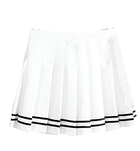 Falda escolar plisada para niña colegio tenis scooters White stripes Single-layer